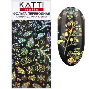 KATTi фольга переводная 36004 Новый Год черная с мульти серебристым рисунком 20см