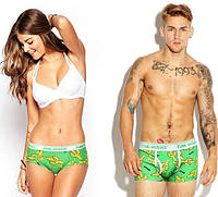 Одинаковое белье для пары XL /muzhskie-trusy/trusy-pink-hero/, Трусы боксеры:Прикольные трусы, 95% хлопок, 5% эластан, зеленый, полноразмерный, средняя, Азия, XXL, Pink Hero, Зеленый