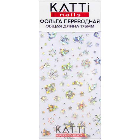 KATTi фольга переводная 36006 Новый Год прозрачная с мульти серебристым рисунком 20см, фото 2