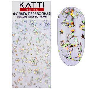 KATTi фольга переводная 36008 Новый Год прозрачная с мульти серебристым рисунком 20см, фото 2