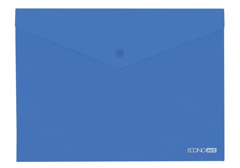 "Папка-конверт В5 прозора на кнопці Economix, 180 мкм, фактура ""глянець"", синя E31302-02"