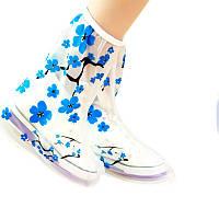 1параПВХмногоразовыечехлыот дождя нескользкие Ботинки сгущенные подошвы плащи непроницаемые синяя слива цветок бахилы-1TopShop