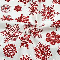 Ранфорс 240 см Снежинки красные на белом, фото 1