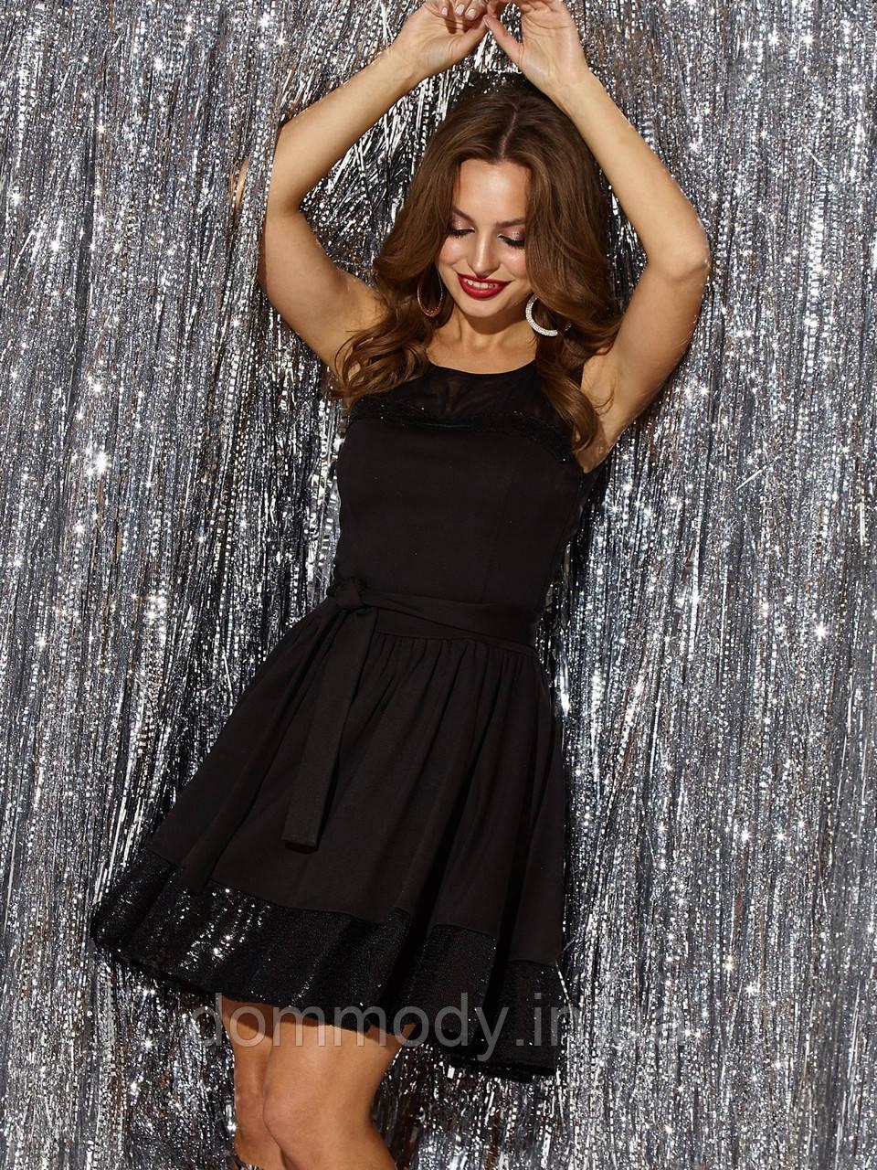 Чёрное платье женское с пышной юбкой