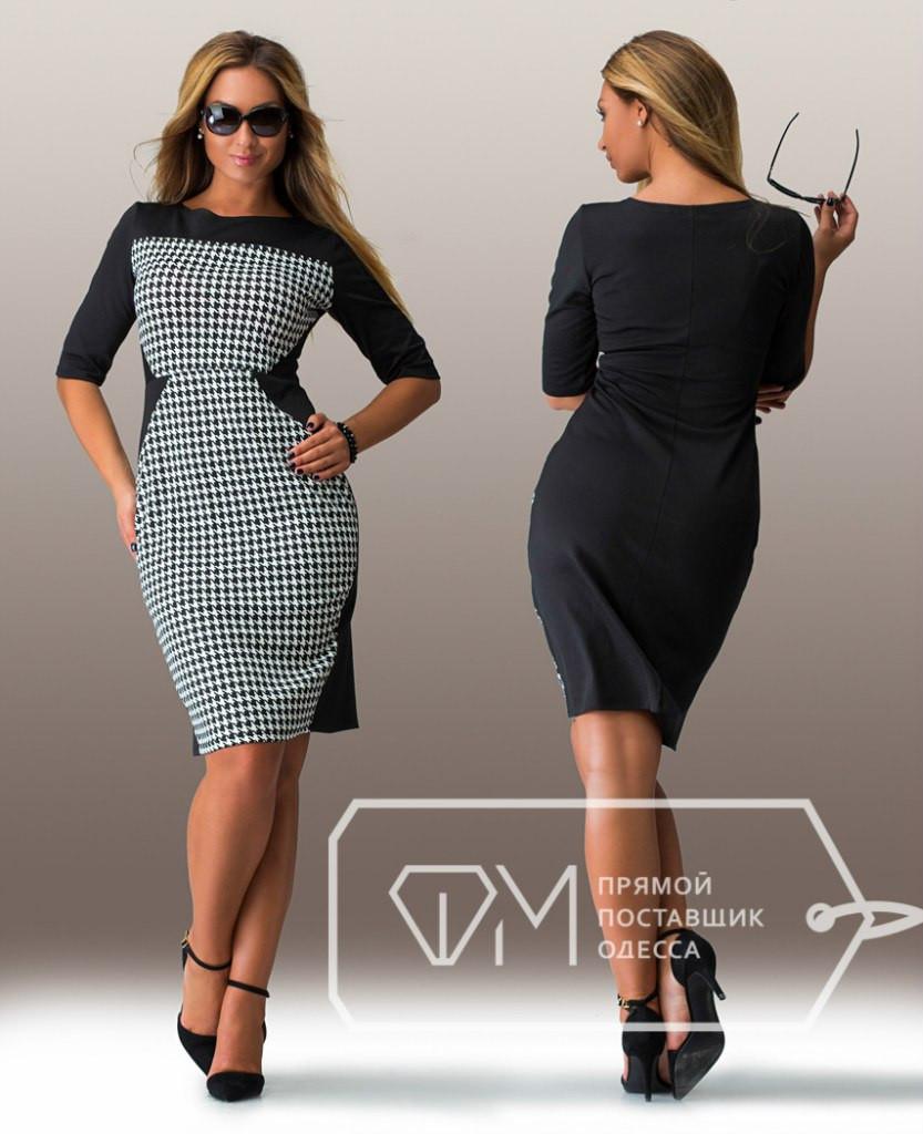 Черное батальное женское платье со светлым передом