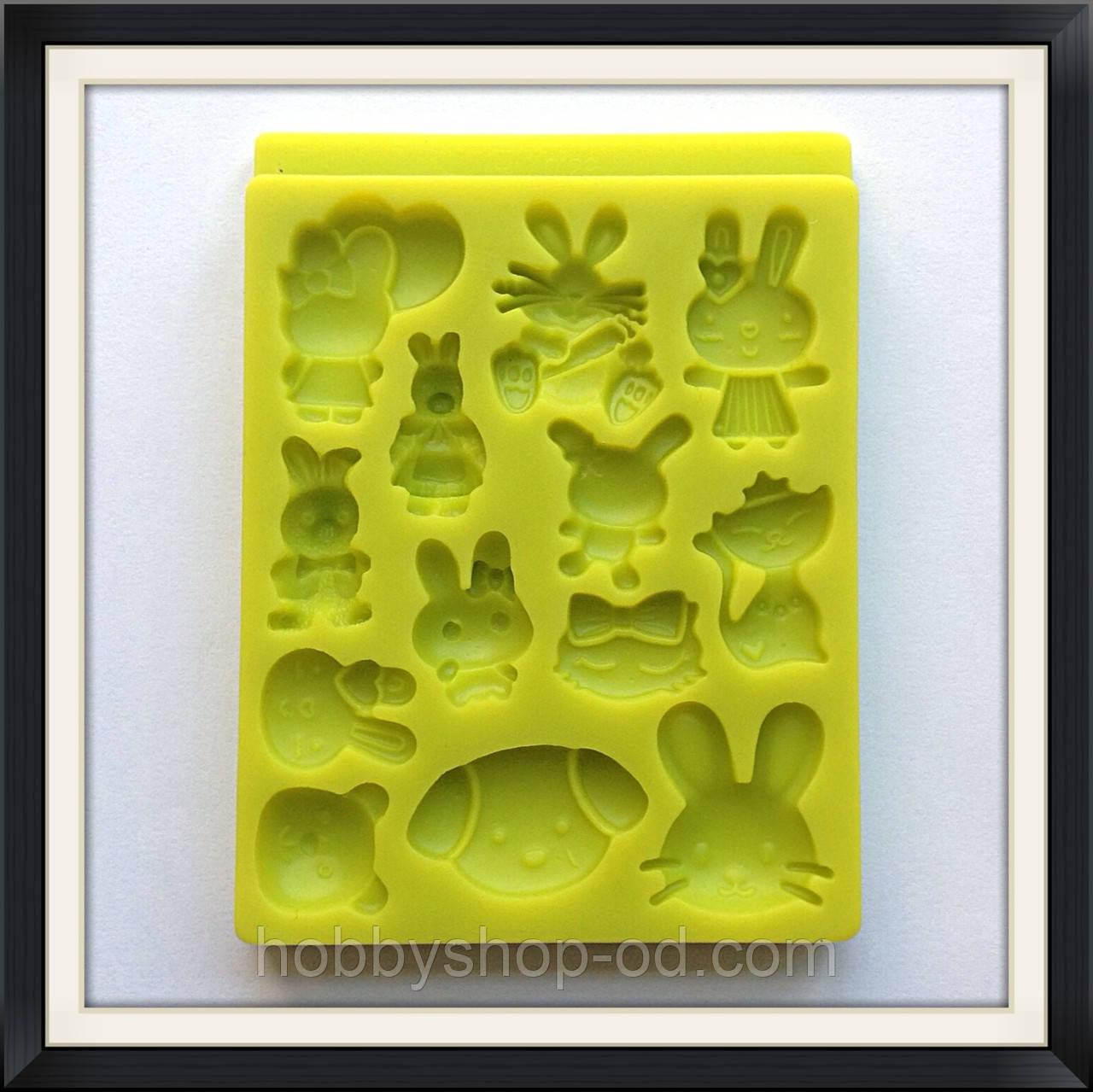 Молд силиконовый Звери (зайчики, кошки, собачки)