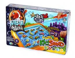 Песок кинетический и Клевая рыбалка «2 в 1» (1200гр, 8 формочек, песочница-бассейн)Danko Toys