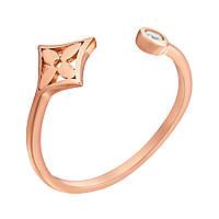 Золотое кольцо Флорал с фианитом в стиле Луи Виттон 000059178 17 размер