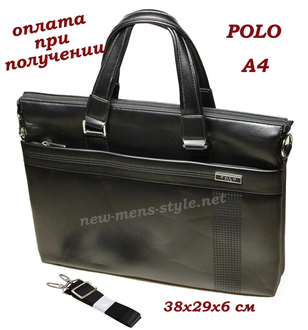 Чоловіча шкіряна ділова сумка портфель Polo для документів формат A4