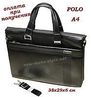 Чоловіча шкіряна ділова сумка портфель Polo для документів формат A4, фото 1