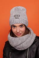 Стильный, молодежный головной набор шапка и снуд - восьмерка, серого цвета