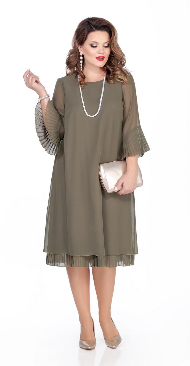 Платье TEZA-250 белорусский трикотаж, хаки, 44