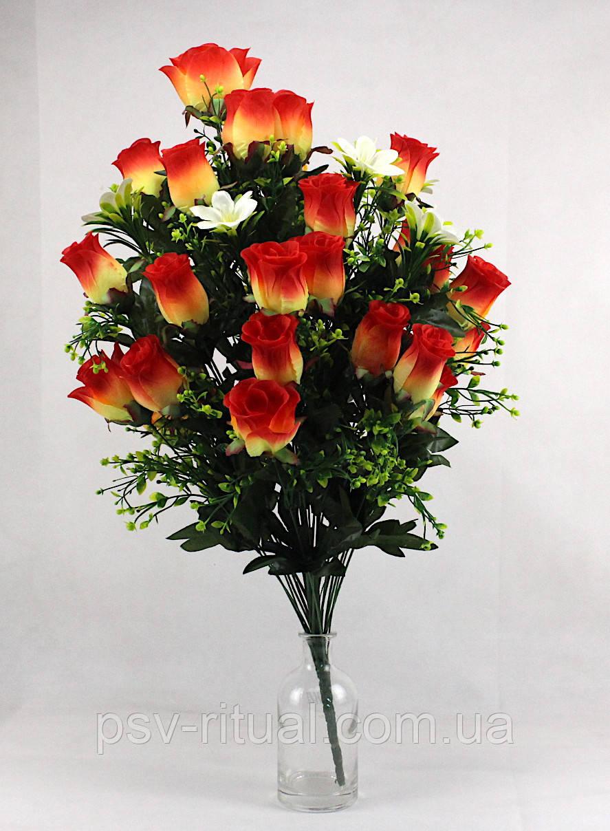 Роза 36 голов с добавкой мелкого цветка высота 75 см