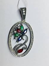 Круглый кулон с цветочным узором серебро Флоренция