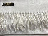 Кашеміровий біло-молочний однотонний шарф, фото 3