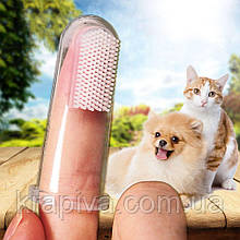 Зубная щетка для собак и кошек насадка на палец силикон, зубна щітка для собак та котів силікон