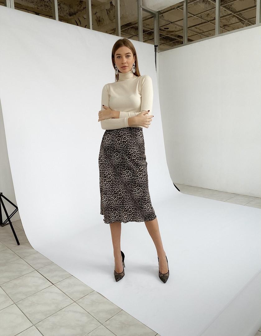 "Леопардовая шелковая юбка-миди ""Dalila"" на резинке"