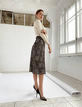 "Леопардовая шелковая юбка-миди ""Dalila"" на резинке, фото 2"