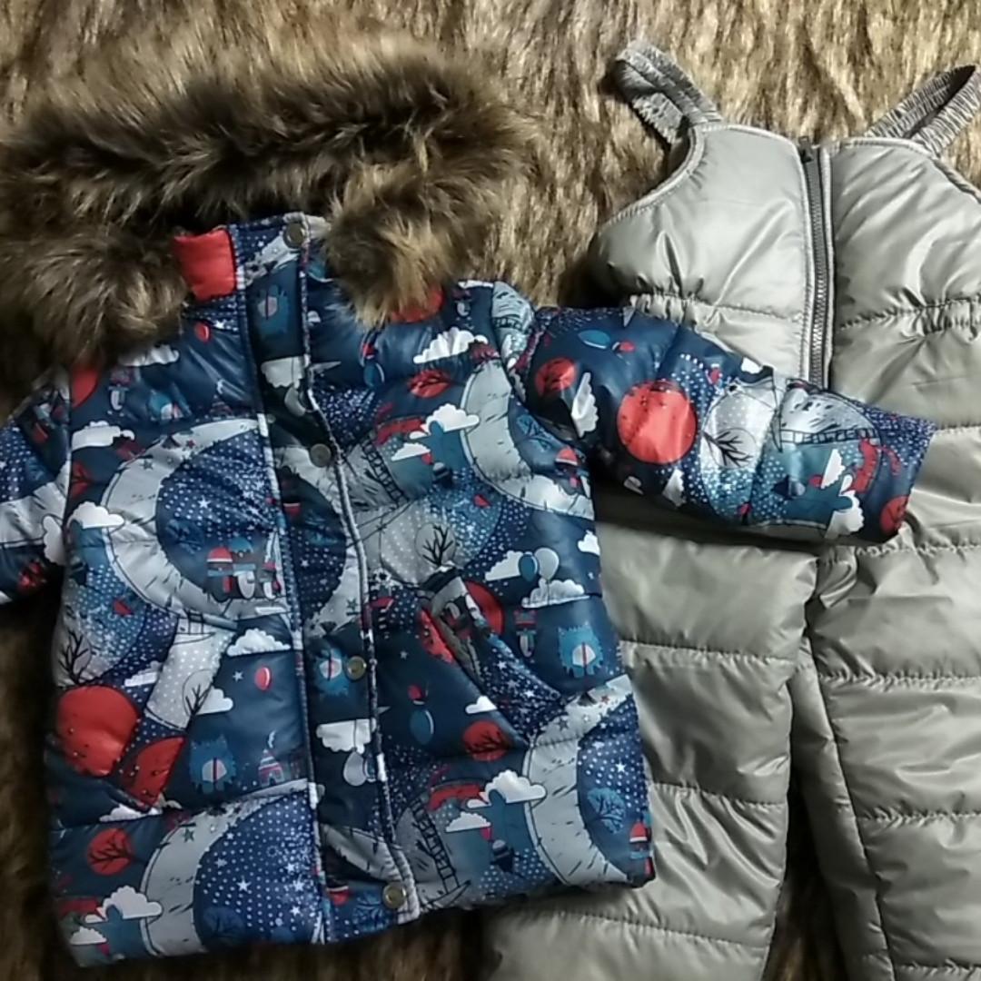 Костюм зимний куртка и полукомбинезон и шапка в комплекте 1.5 года 86 см.