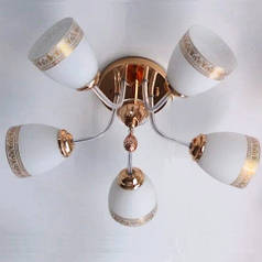 Люстра, 5 ламп, золото, белая