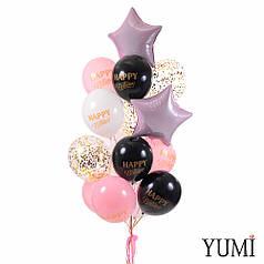 Связка: 10 шаров Happy Birthday, 3 шара с золотым конфетти и 2 розовые звезды