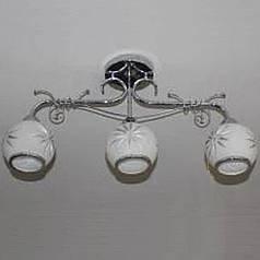 Люстра потолочная, красивая люстра, 3 лампы, серебро
