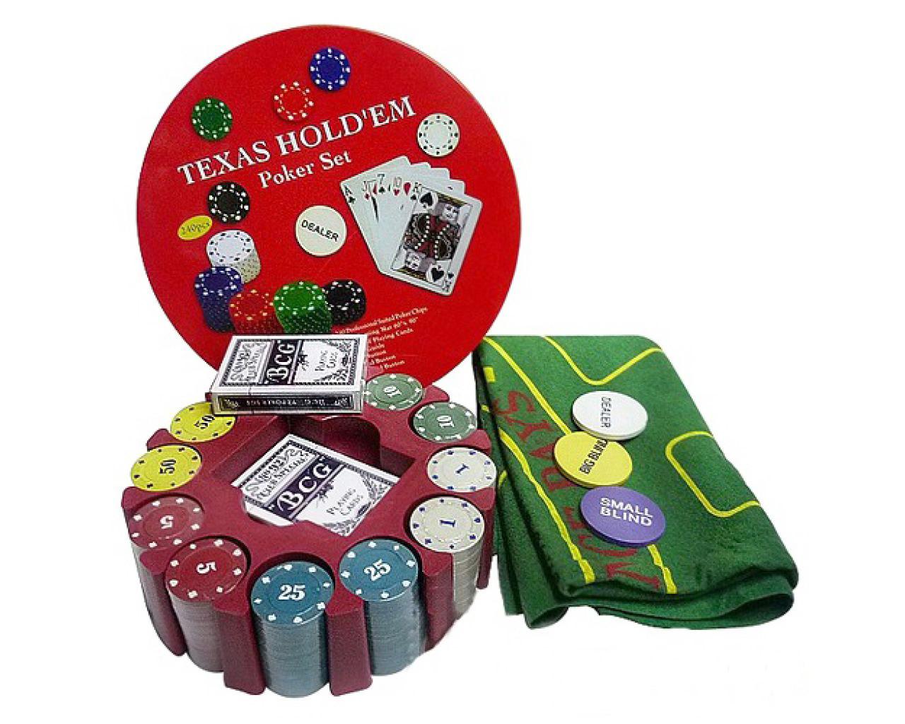 Набор для покера на 240 фишек с номиналом, игральными картами и сукном