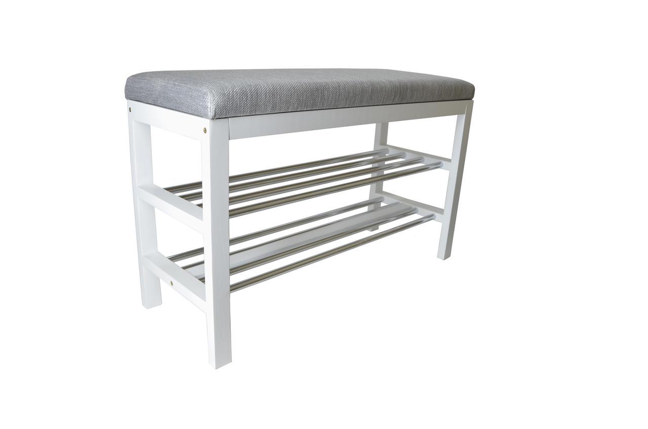 Банкетка деревянная белая с мягким сиденьем и полками под обувь