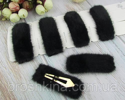 Заколки для волос тик-так 8*3 см мех черные 6 шт/уп.