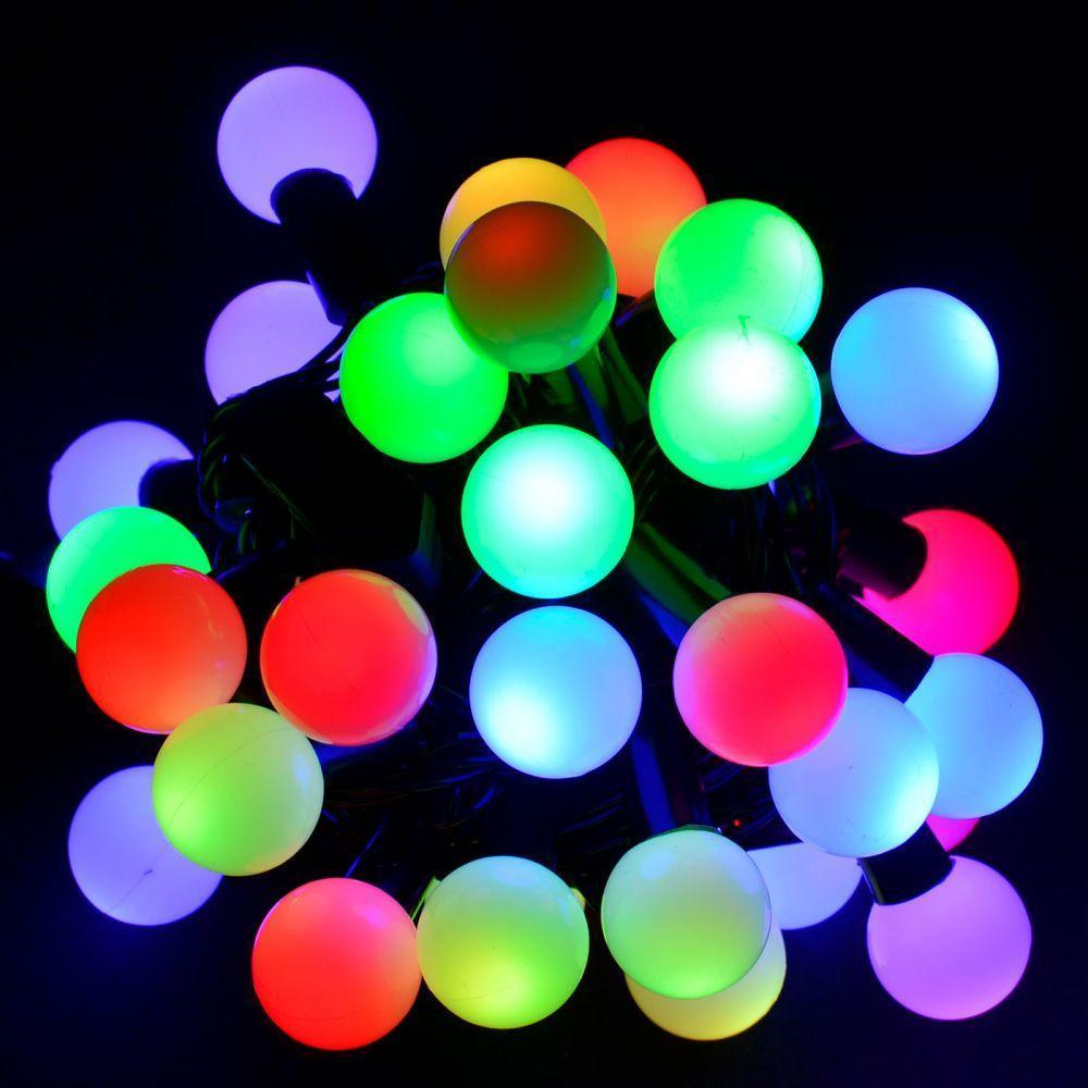 Гирлянда светодиодная уличная шарики 40LED RGB, черный провод, d=10мм