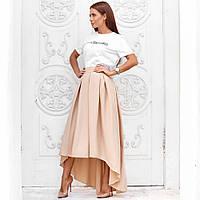 Женская юбка ассиметричная в пол бежевая, фото 1