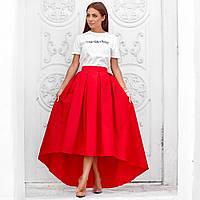 Женская юбка ассиметричная в пол красная, фото 1