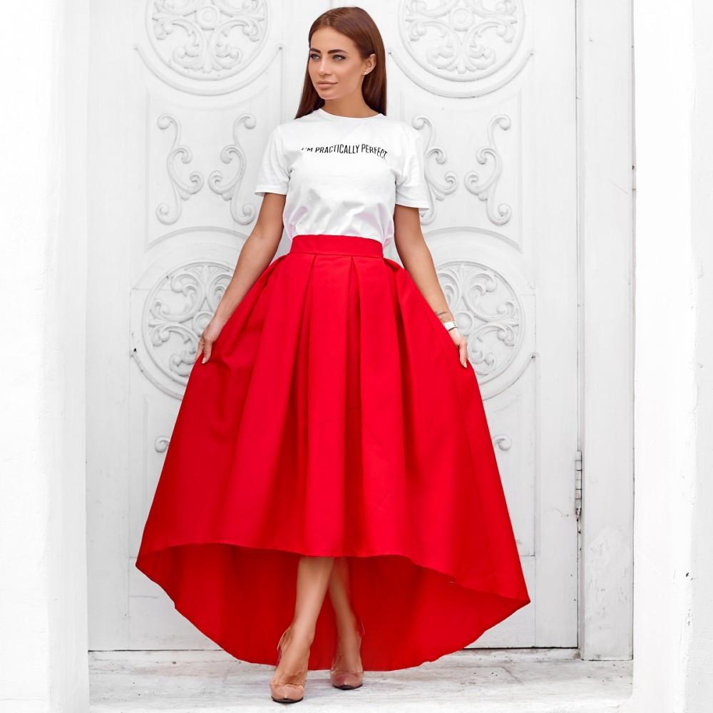 Женская юбка ассиметричная в пол красная