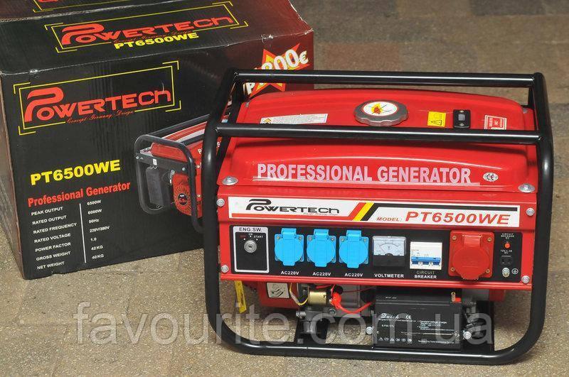 Генератор бензиновый 3-х фазный  POWERTECH PT6500WE ( ЕлектроСтартер) 4.8 Кв