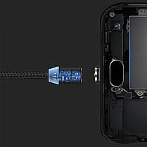 Кабель для зарядки Topk USB 1m 2.4A 360° (TK17i-VER2) MicroUSB Black магнитный зарядный, фото 3