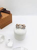 Серебряное кольцо Медичи , Вставка: куб.цирконий, позолота, покрытие родий