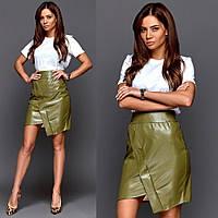 Женская мини юбка экокожа зеленая, фото 1