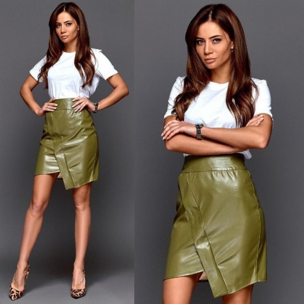 Женская мини юбка экокожа зеленая