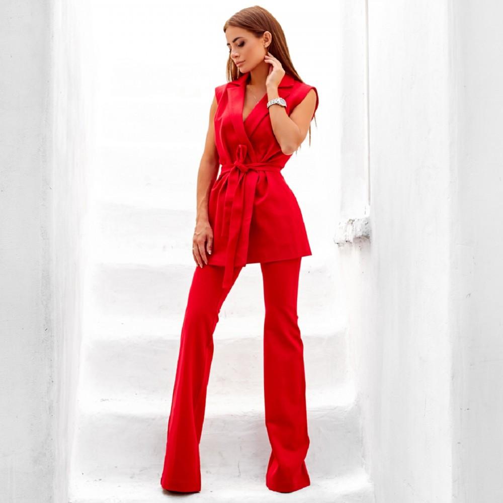 Женский элегантный костюм жилет+штаны красный