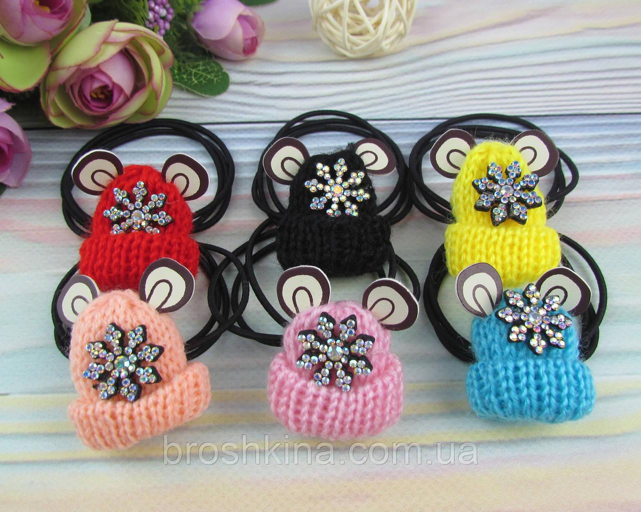 Резинки для волос шапочки со снежинками в стразах 10 шт/уп.