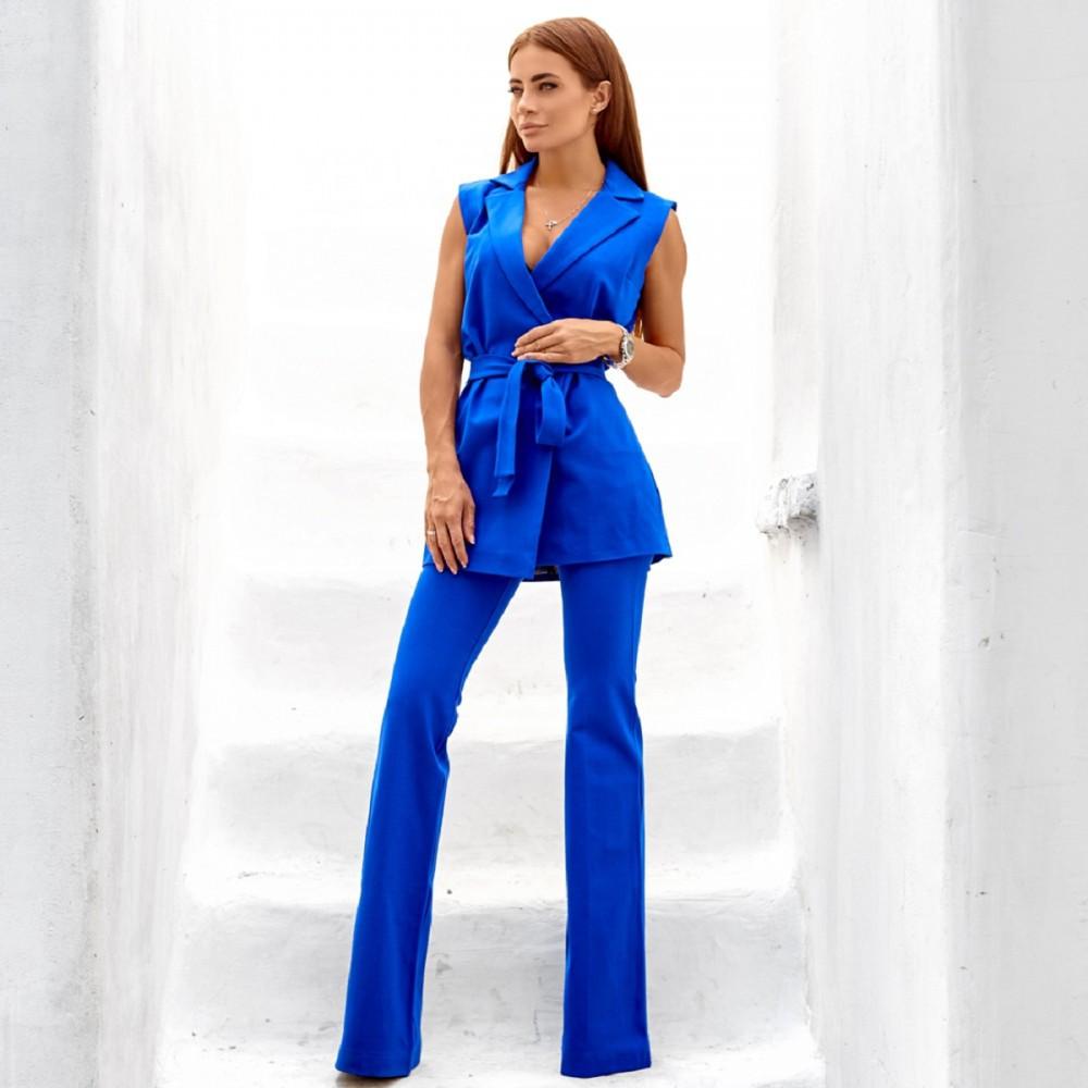 Женский элегантный костюм жилет+штаны синий