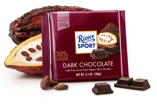 Черный шоколад Ritter Sport горько-сладкий 50% какао 100 г