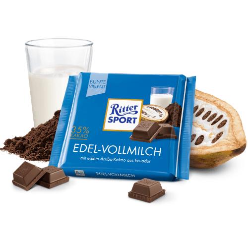 Молочный шоколад Ritter Sport Благородный молочный 35% какао 100 г