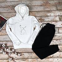 Спортивный костюм женский зимний с капюшоном до - 25*С Топ качество VG white