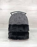 Рюкзак серый 45321 с мехом городской молодежный женский, фото 1