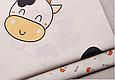 Сатин (хлопковая ткань) коровка с желтыми рожками (90*130), фото 3
