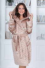 Красивый женский теплый халат из стриженного меха Норма