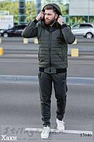 Мужской теплый костюм с жилеткой тройка хаки, фото 1