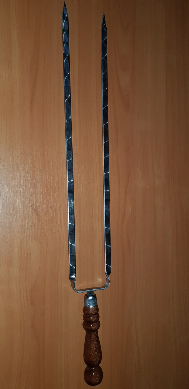 Шампур двойной с деревянной ручкой, 690 мм