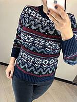 Красивый шерстяной праздничный женский свитер со снежинками (вязка), фото 1